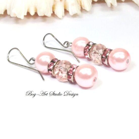 Gyöngy fülbevaló - rózsaszín gyöngyök kristályokkal