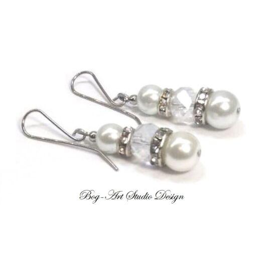 Fülbevaló - fehér gyöngy kristállyal és köztesekkel