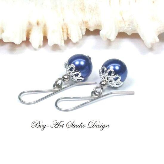 Gyöngy fülbevaló - acélkék gyöngy kapszulában