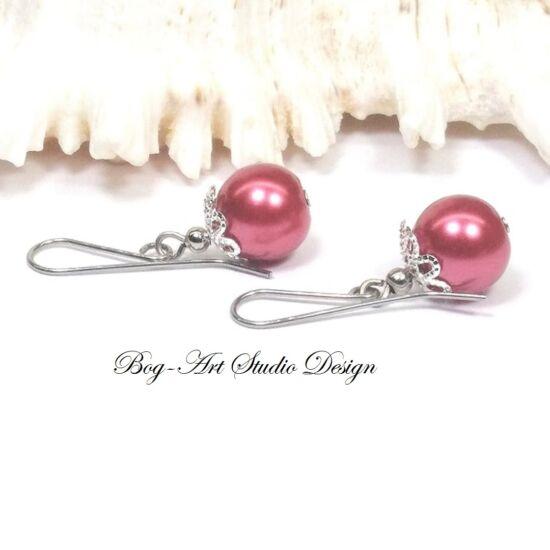 Gyöngy fülbevaló - bordó gyöngy kapszulában - 10 mm