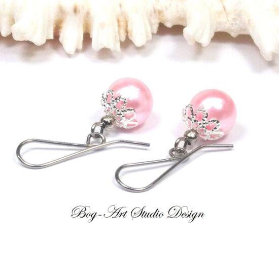 Gyöngy fülbevaló - rózsaszín gyöngy kapszulában