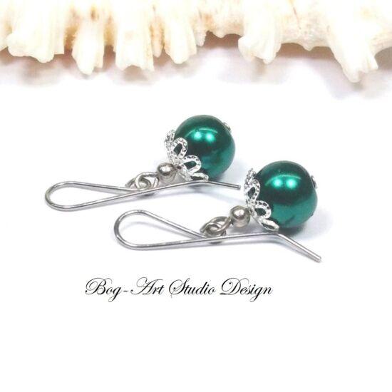 Gyöngy fülbevaló - smaragd gyöngy