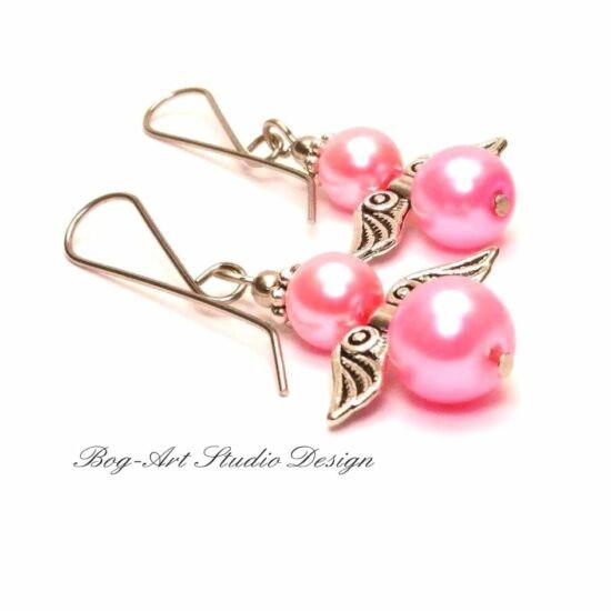 Tekla gyöngy fülbevaló - sötét rózsaszín angyalka