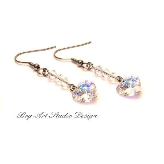 Swarovski csillogás - Szív fülbevaló gyöngyökkel - crystal