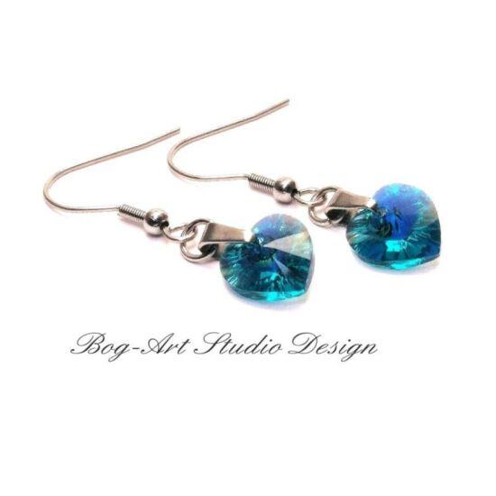 Ausztria gyöngy szív fülbevaló - Blue Zircon