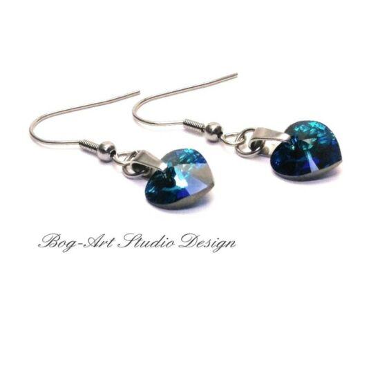 Ausztria gyöngy szív fülbevaló - Capri Blue