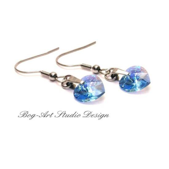 Ausztria gyöngy szív fülbevaló - Aquamarine