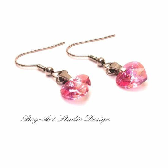 Ausztria gyöngy szív fülbevaló - halvány rózsaszín