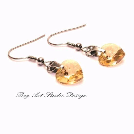 Ausztria gyöngy  szív fülbevaló - Golden Shadow