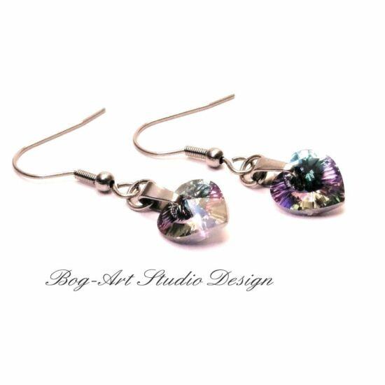 Ausztria gyöngy szív fülbevaló - szivárványos rózsaszín