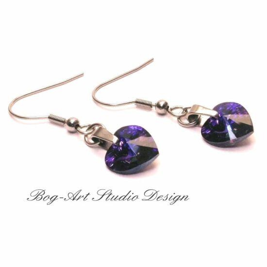Ausztria gyöngy szív fülbevaló - Heliotróp lila