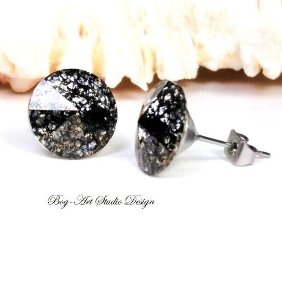 Ausztria gyöngy beszúrós fülbevaló Rivoli kövekből - 12 mm - CRYSTAL BLACK PATINA