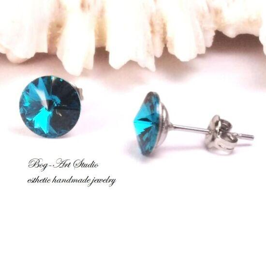 Ausztria gyöngy beszúrós fülbevaló Rivoli kövekből 8 mm-es BLUE ZIRCONE