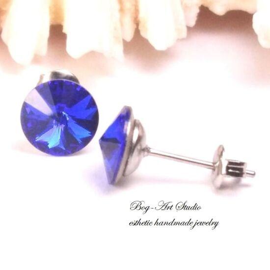 Ausztria gyöngy beszúrós fülbevaló Rivoli kövekből - 8 mm - CAPRI BLUE