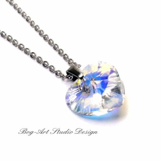 Swaroski csillogás - Szív medál nyaklánccal - Crystal Ab - 14 mm