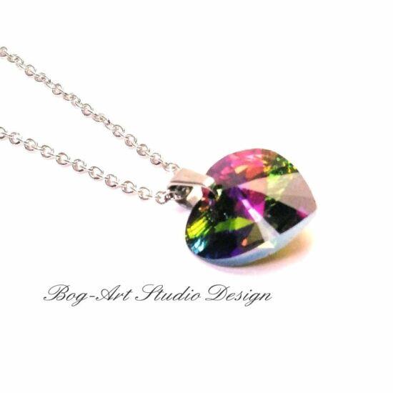 Ausztria gyöngy csillogás - Szív medál nyaklánccal - 14 mm - Crystal Vitrail Light