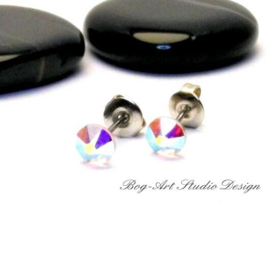 Ausztria gyöngy pötty fülbevaló - 3 mm-es - Crystal AB