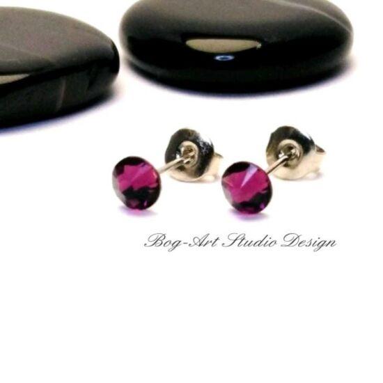 Ausztria gyöngy pötty fülbevaló - 3 mm-es - Amethyst