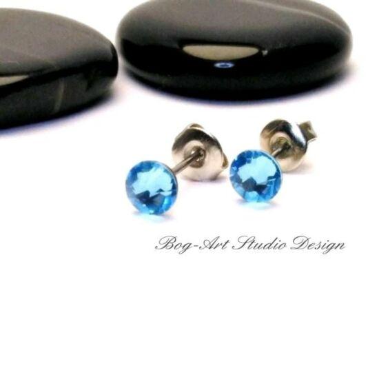 Ausztria gyöngy pötty fülbevaló - 3 mm-es - Aquamarine
