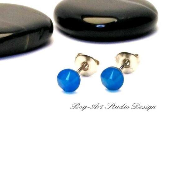 Ausztria gyöngy pötty fülbevaló - 3 mm-es - Caribbien Blue Opal