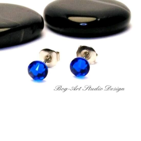 Swarovski pötty fülbevaló - 3 mm-es - Cobalt