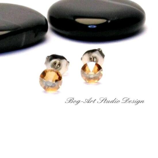 Ausztria gyöngy pötty fülbevaló - 3 mm-es - Crystal Golden Shadow