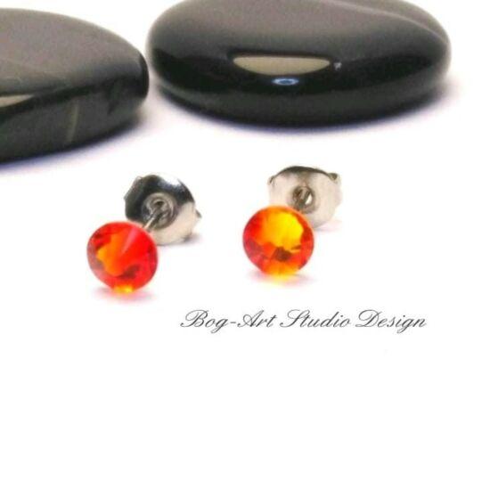 Ausztria gyöngy pötty fülbevaló - 3 mm-es - Fire Opal